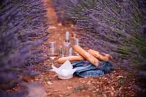 Garrafa e taça com vinho rosé junto a um queijo e baguetes em meio a um campo de lavanda
