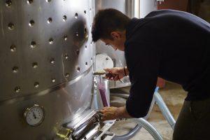 Enólogo tirando amostra de vinho de um tanque de inox